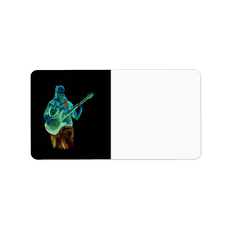 Bass player, done in neon colors on black back custom address labels