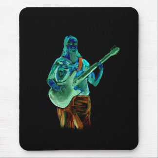 Bass player, done in neon colors on black back mouse pad