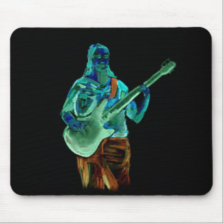 Bass player, done in neon colors on black back mousepads