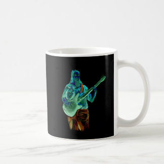 Bass player, done in neon colors on black back coffee mugs