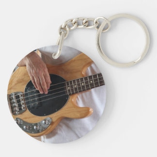 bass player four string bass hands drummer backgro Double-Sided round acrylic keychain