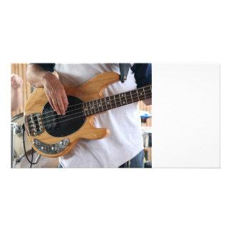 bass player four string bass hands drummer backgro photo card template