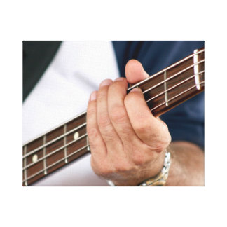 bass player hand on neck male photograph jpg stretched canvas prints