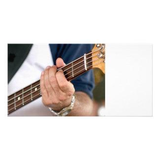 bass player hand on neck male photograph.jpg custom photo card