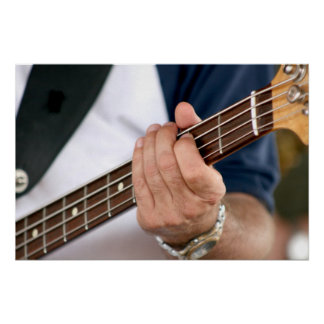 bass player hand on neck male photograph jpg poster