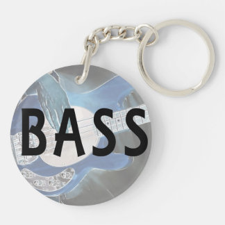 bass player invert text four string bass hands Double-Sided round acrylic keychain