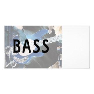 bass player invert text four string bass hands picture card