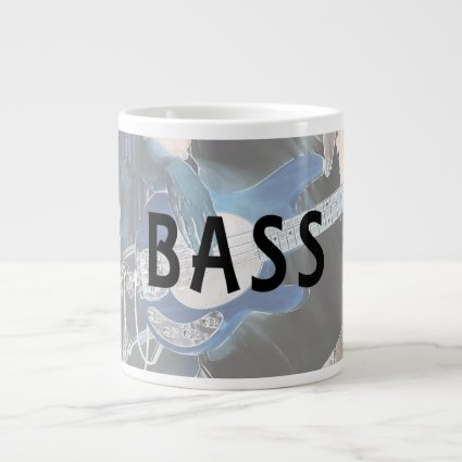 bass player invert text four string bass hands 20 oz large ceramic coffee mug
