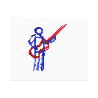 Bass Player outline figure red and blue Canvas Prints