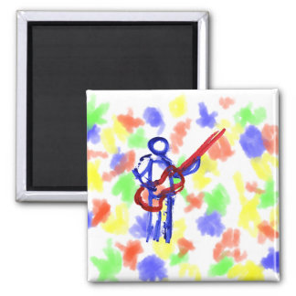 Bass Player outline figure red and blue Magnet