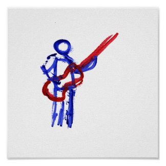 Bass Player outline figure red and blue Poster