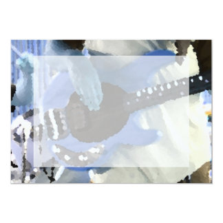 bass player painterly blue four string bass hands 5x7 paper invitation card