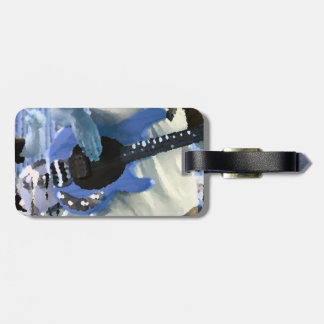 bass player painterly blue four string bass hands bag tag