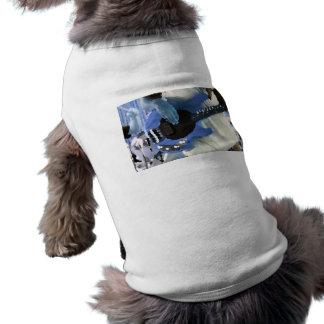 bass player painterly blue four string bass hands doggie shirt