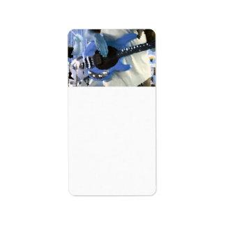 bass player painterly blue four string bass hands custom address label