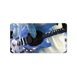 bass player painterly blue four string bass hands custom address labels