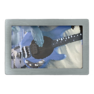 bass player painterly blue four string bass hands rectangular belt buckle