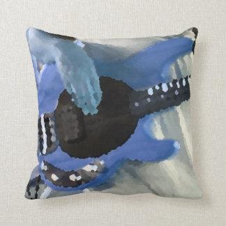 bass player painterly blue four string bass hands throw pillow