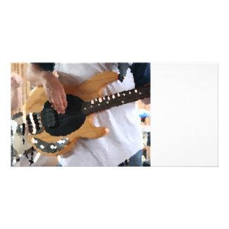 bass player painterly four string bass hands drumm custom photo card