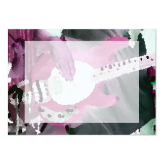 """bass player painterly invert mag four string bass 5"""" x 7"""" invitation card"""
