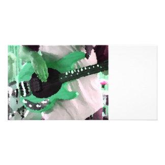 bass player painterly mint four string bass hands photo card