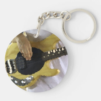 bass player painterly yellow four string bass hand Double-Sided round acrylic keychain