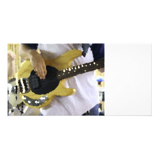bass player painterly yellow four string bass hand photo card template