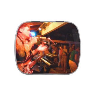 bass player playing jawbone crowd colorful paintin candy tin