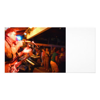 bass player playing jawbone crowd colorful paintin photo card template