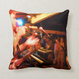 bass player playing jawbone crowd colorful paintin pillow