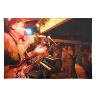bass player playing jawbone crowd colorful paintin placemat