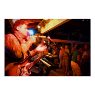 bass player playing jawbone crowd colorful paintin poster