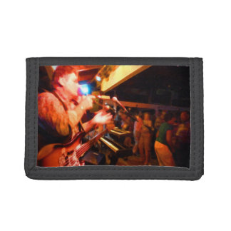 bass player playing jawbone crowd colorful paintin tri-fold wallet