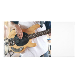bass player posterized four string bass hands  .jp customized photo card