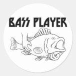 Bass Player Round Sticker
