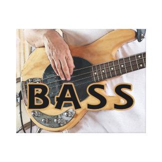 bass player text four string bass hands canvas print