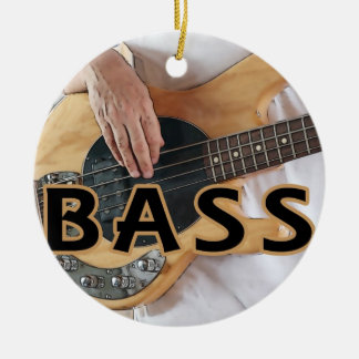 bass player text four string bass hands ceramic ornament
