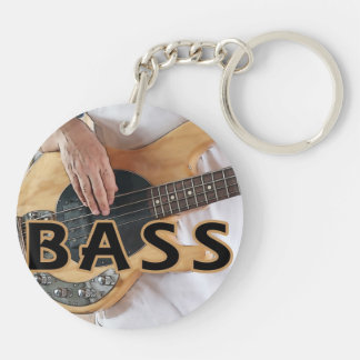 bass player text four string bass hands Double-Sided round acrylic keychain