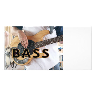 bass player text four string bass hands picture card