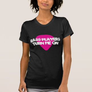Bass Players Turn Me On Pink Guitar Pick Tee
