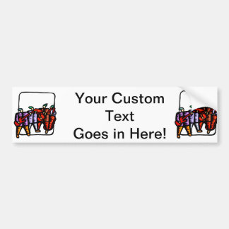 Bass Players, upright and electric colored graphic Bumper Sticker