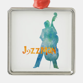 Bass Playing Jazzman Metal Ornament