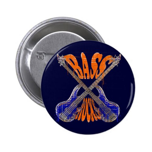 Bass Rocks Crossed Bass Guitars Round Button