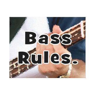 bass rules painterly player hand on neck male stretched canvas print