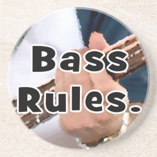 bass rules painterly player hand on neck male beverage coaster