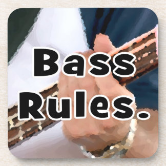 bass rules painterly player hand on neck male beverage coasters