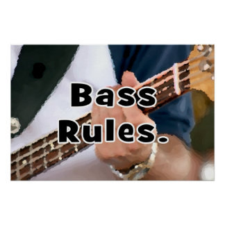 bass rules painterly player hand on neck male poster