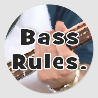 bass rules painterly player hand on neck male round stickers