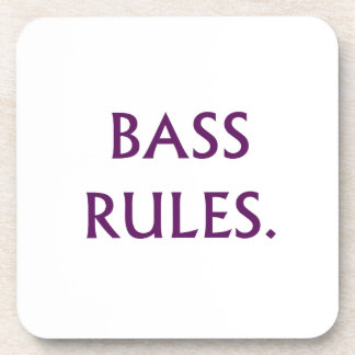 Bass Rules purple text Coaster