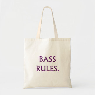 Bass Rules purple text Tote Bag